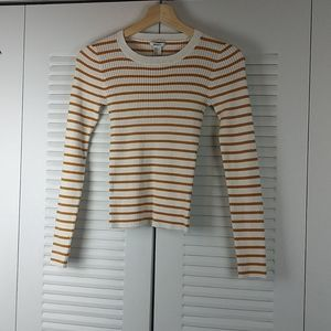 Forever 21 Junior Mustard Yellow/Wh Long Sleeve S